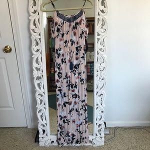 Xhilaration Pink & Blue Floral Maxi Dress